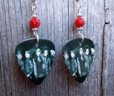 Black Veil Brides Group Photo Guitar Pick Earrings with Red Pave Beads
