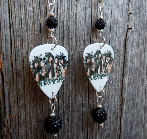 Black Veil Brides Group Photo Guitar Pick Earrings with Black Pave Beads