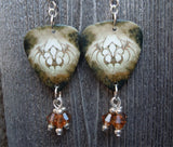 Black Veil Brides The Fallen Ones Guitar Pick Earrings with Brown Crystal Dangles