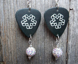 Black Veil Brides Logo Guitar Pick Earrings with White AB Pave Bead