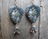 Black Veil Brides Heart of Fire Guitar Pick Earrings with Gray Crystal Dangles