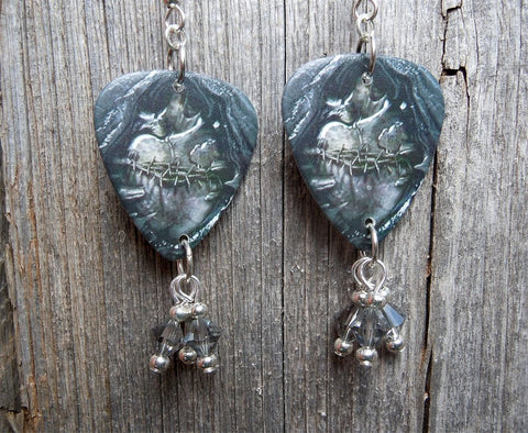 Black Veil Brides Heart of Fire Guitar Pick Earrings with Gray Swarovski Crystals