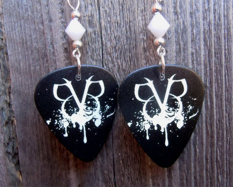 Black Veil Brides Guitar Pick Earrings with White Swarovski Crystals