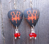 Black Veil Brides Guitar Pick Earrings with Red Crystal Dangles