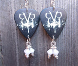 Black Veil Brides Logo Guitar Pick Earrings with White Swarovski Crystals