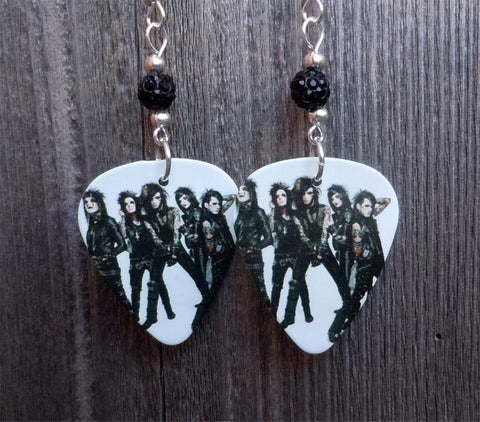 Black Veil Brides Group Picture Guitar Pick Earrings with Black Pave Beads
