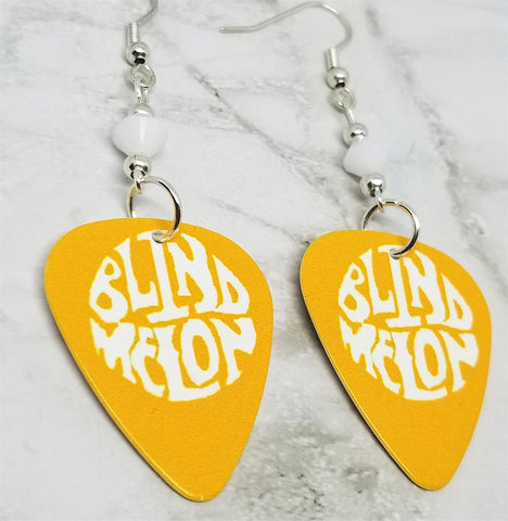 Blind Melon Guitar Pick Earrings with White Swarovski Crystals