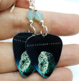 Blue October Foiled Guitar Pick Earrings with Pacific Opal Swarovski Crystals