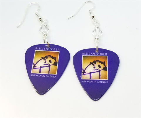Blue October Any Man in America Guitar Pick Earrings with Clear Swarovski Crystals