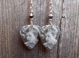 Black and White Bob Dylan with Harmonica Guitar Pick Earrings with Crystals