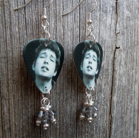 Black and White Bob Dylan Smoking Guitar Pick Earrings with Gray Swarovski Crystals