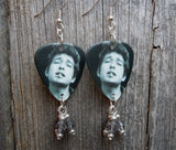 Black and White Bob Dylan Smoking Guitar Pick Earrings with Gray Crystals