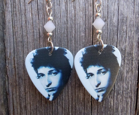 Bob Dylan Guitar Pick Earrings with White Swarovski Crystals