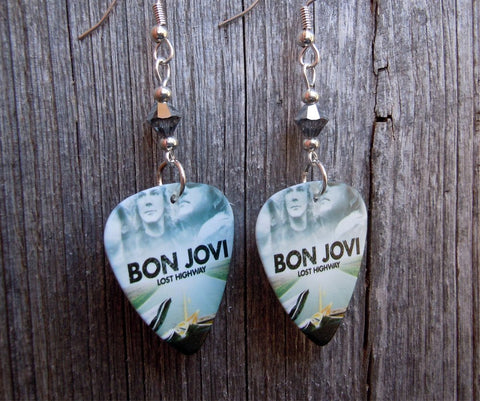 Bon Jovi Lost Highway Album Guitar Pick Earrings with Silver Swarovski Crystals