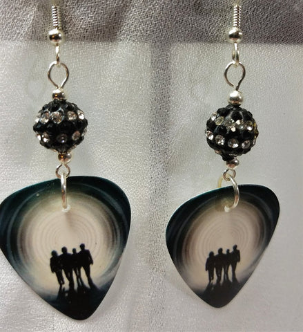 Bon Jovi The Circle Guitar Pick Earrings with Striped Pave Beads