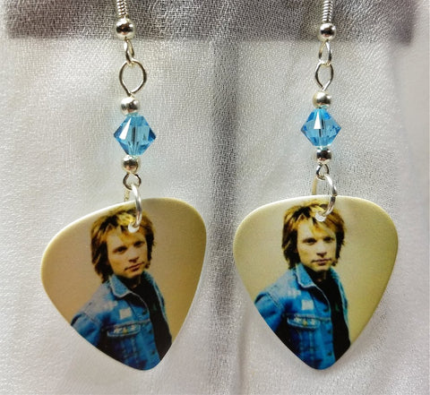 Jon Bon Jovi Guitar Pick Earrings with Aqua Swarovski Crystals