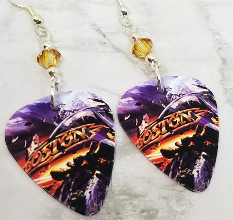 Boston Guitar Pick Earrings with Golden Swarovski Crystals