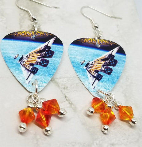 Boston Third Stage Guitar Pick Earrings with Fire Opal Swarovski Crystal Dangles