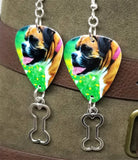 Boxer Dog Guitar Pick Earrings with Bone Charm Dangle