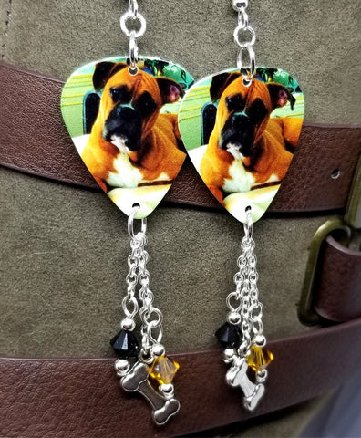 Boxer Guitar Pick Earrings with Charm and Swarovski Crystal Dangles