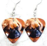 Adorable Sleeping Boxer Puppy Guitar Pick Earrings
