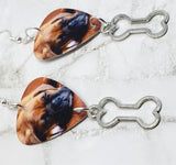 Adorable Sleeping Boxer Puppy Guitar Pick Earrings with Bone Charm