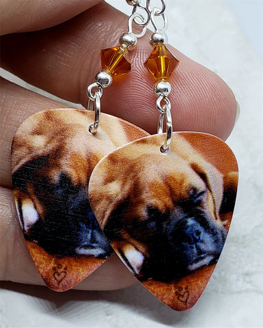 Adorable Sleeping Boxer Puppy Guitar Pick Earrings with Topaz Swarovski Crystals