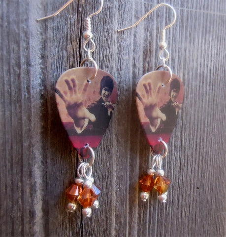 Bruce Lee Fighting Guitar Pick Earrings with Copper Swarovski Crystal Dangles