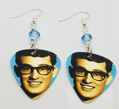 Buddy Holly Greatest Hits Guitar Pick Earrings with Aqua Blue Swarovski Crystals