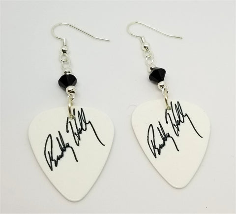 Black and White Buddy Holly Signature Guitar Pick Earrings with Black Swarovski Crystals