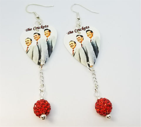 Buddy Holly's The Crickets Guitar Pick Earrings with Red Pave Bead Dangles