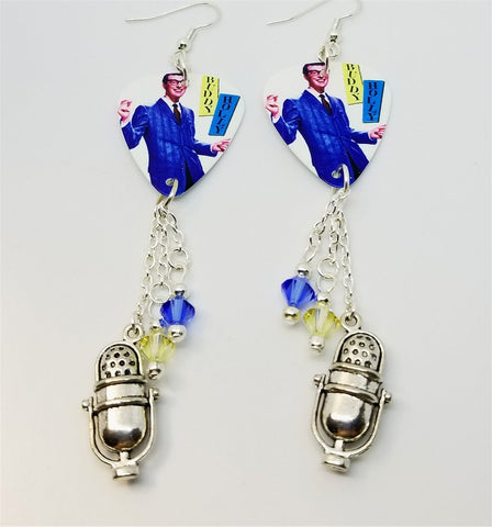 Buddy Holly Rave On Guitar Pick Earrings with Silver Microphone Charm and Swarovski Crystal Dangles