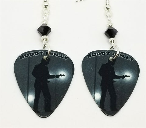 Buddy Holly Guitar Pick Earrings with Black Swarovski Crystals