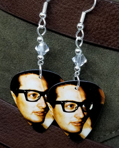 Buddy Holly Guitar Pick Earrings with Clear Swarovski Crystals
