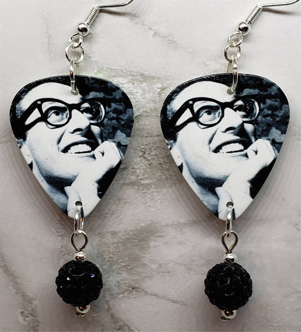 Buddy Holly Guitar Pick Earrings with Black Pave Bead Dangles