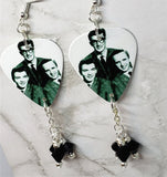 Buddy Holly and The Crickets Guitar Pick Earrings with Black Swarovski Crystal Dangles