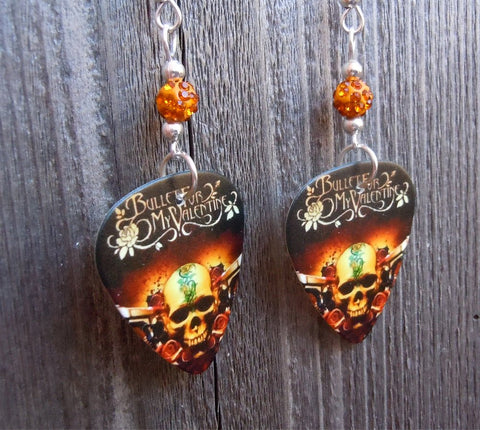 Bullet for My Valentine Road to Nowhere Pick Earrings with Orange Pave Beads