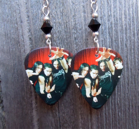 Bullet for My Valentine Group Picture Guitar Pick Earrings with Black Swarovski Crystals