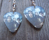 Bullet for My Valentine Group Picture Guitar Pick Earrings with Grey Swarovski Crystals