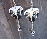 Bullet for My Valentine Group Photo Guitar Pick Earrings with Swarovski Crystal and Charm Dangles
