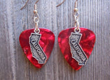 State of California Charm Guitar Pick Earrings - Pick Your Color