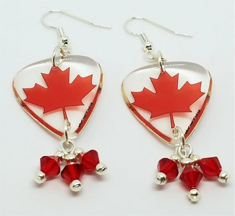 Canadian Flag Transparent Guitar Pick Earrings with Red Swarovski Crystal Dangles