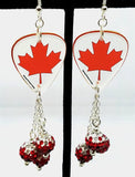 Canadian Flag Transparent Guitar Pick Earrings with Red Ombre Pave Bead Dangles