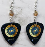 Horoscope Astrological Sign Cancer Guitar Pick Earrings with Metallic Sunshine Swarovski Crystals