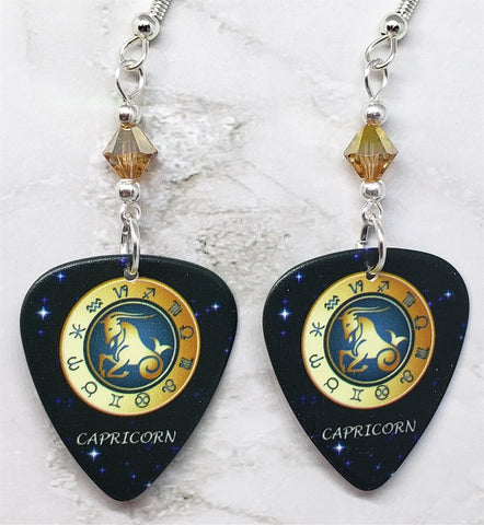 Horoscope Astrological Sign Capricorn Guitar Pick Earrings with Metallic Sunshine Swarovski Crystals