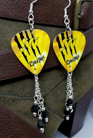 Cheetah Guitar Pick Earrings with Black Swarovski Crystal Dangles