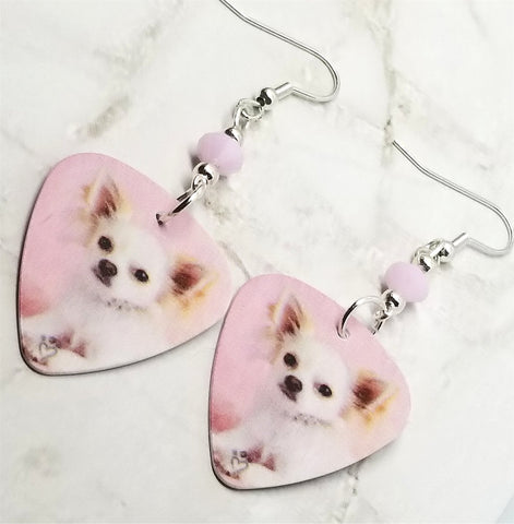 Chihuahua Guitar Pick Earrings with Pink Swarovski Crystals