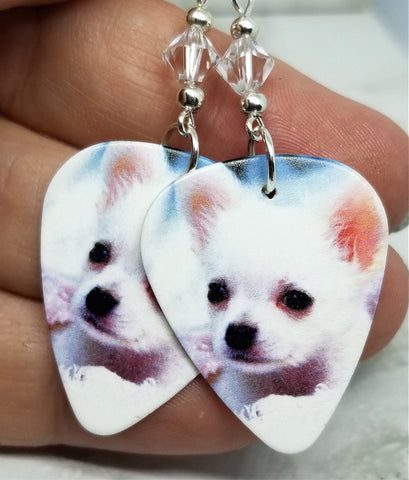 White Chihuahua Guitar Pick Earrings with Clear Swarovski Crystals