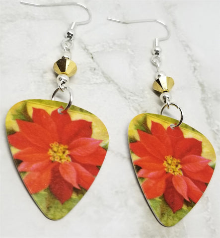 Poinsettia Guitar Pick Earrings with Metallic Gold Swarovski Crystals