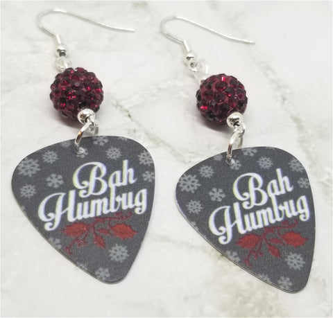 Bah Humbug Guitar Pick Earrings with Red Pave Beads